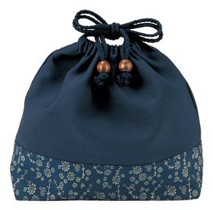 藍小花巾着(大)