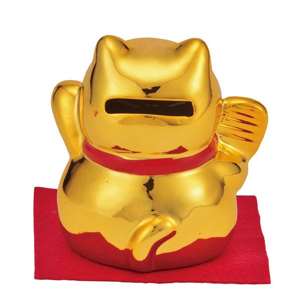 開運笑顔金の招き猫貯金箱