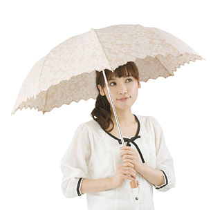 レース スカラップ 晴雨兼用折り傘
